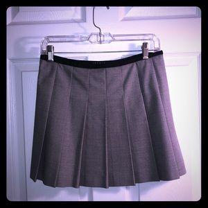Theory Light grey pleaded mini skirt